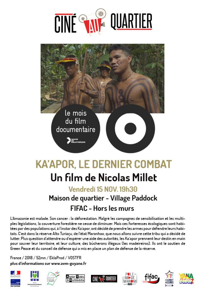 Ka'apor, le dernier combat pendant le Mois du documentaire 2019 - Saint-Laurent du Maroni